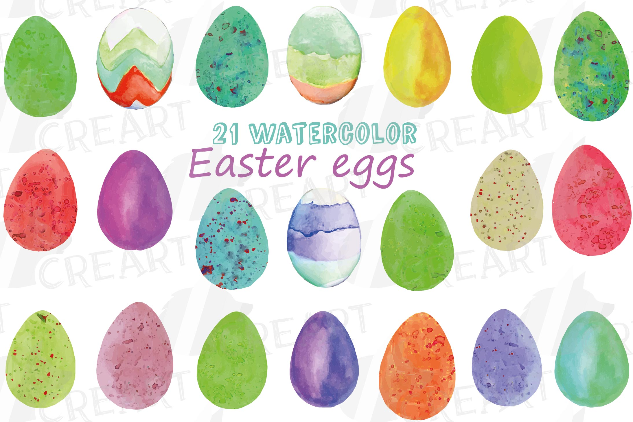 Watercolor Easter eggs colorful clip art pack example image 2