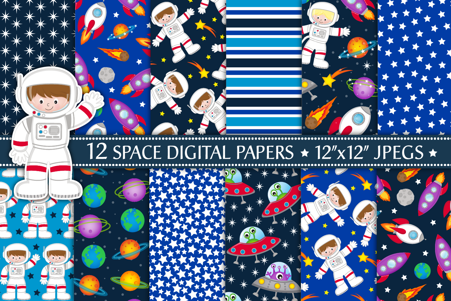 Space Digital Papers, Space Patterns, Astronauts, Planets example image 1