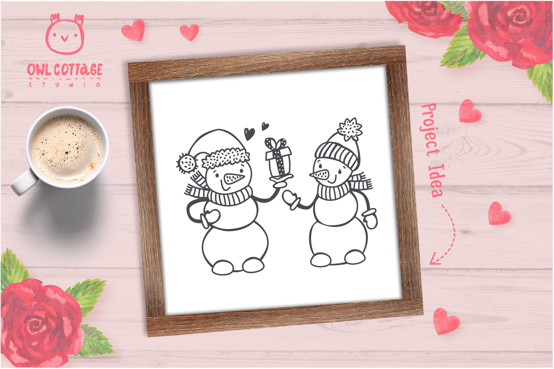 Valentine snowman, Snowman Holding gift Svg, Valentine's Day example image 8