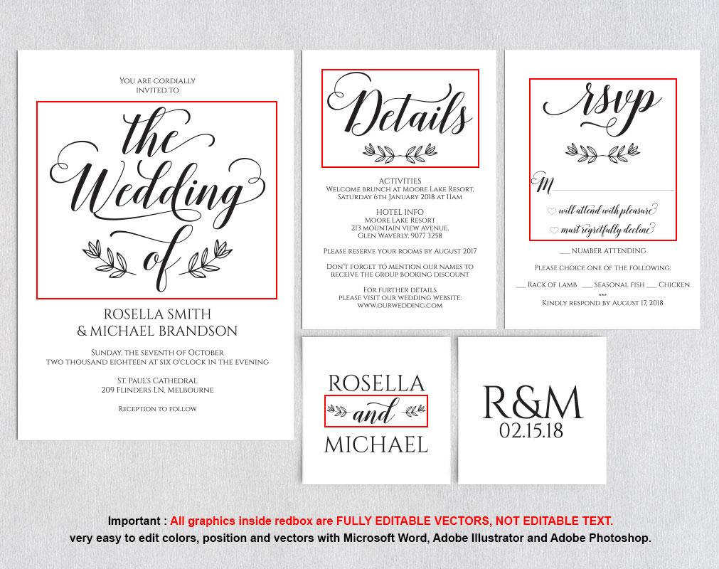 Wedding invitation set portrait, TOS_5 example image 5