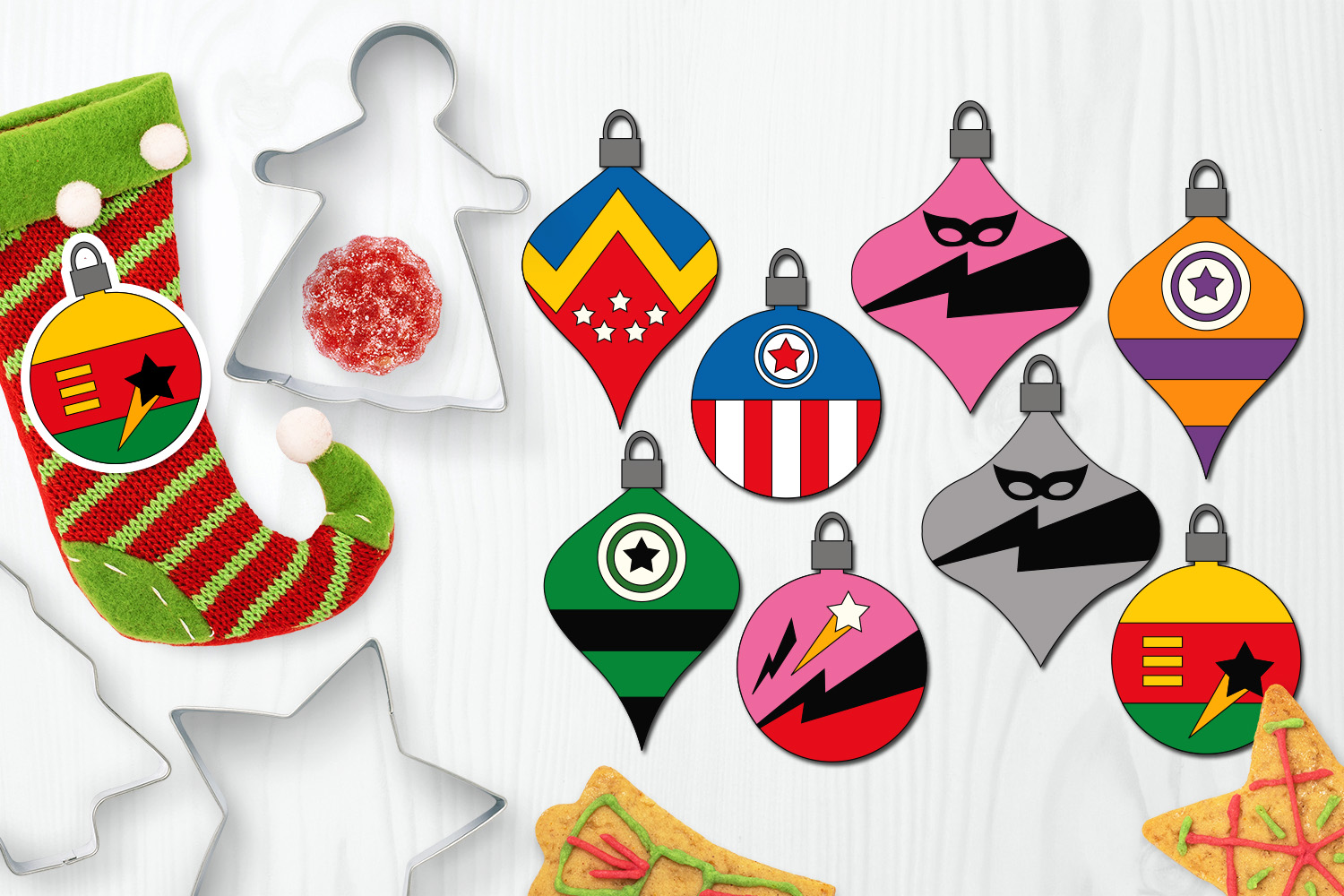 Bundle - Christmas ornaments and Gingerbread Graphics example image 6
