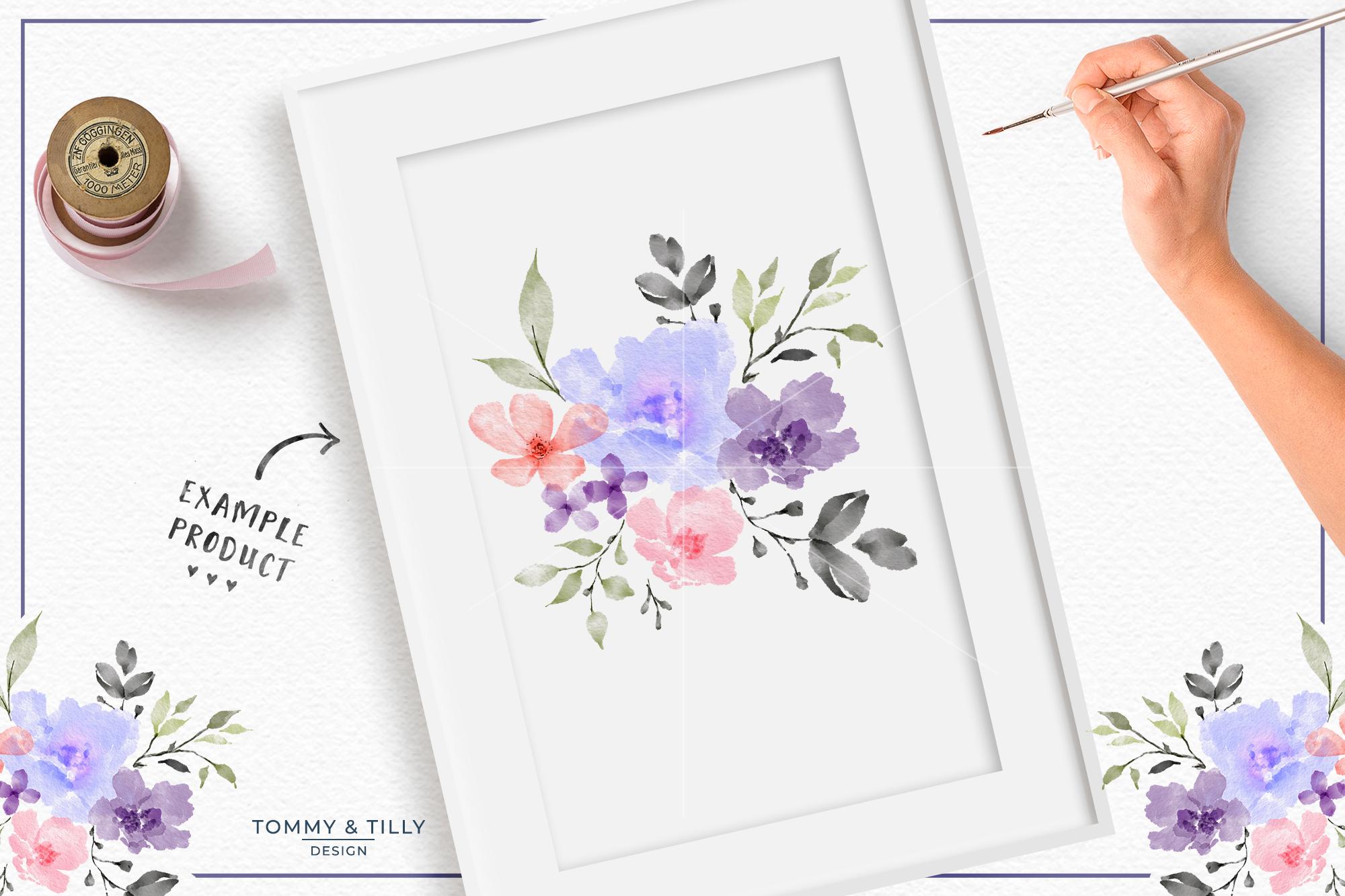 Watercolour Lilac Bouquet - Sublimation | Clipart | PNG example image 2