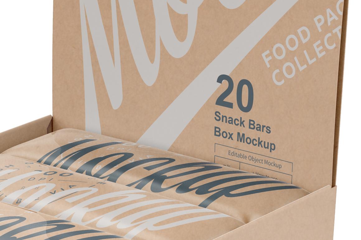 Kraft Snack Bars and Display Box Mockup example image 5