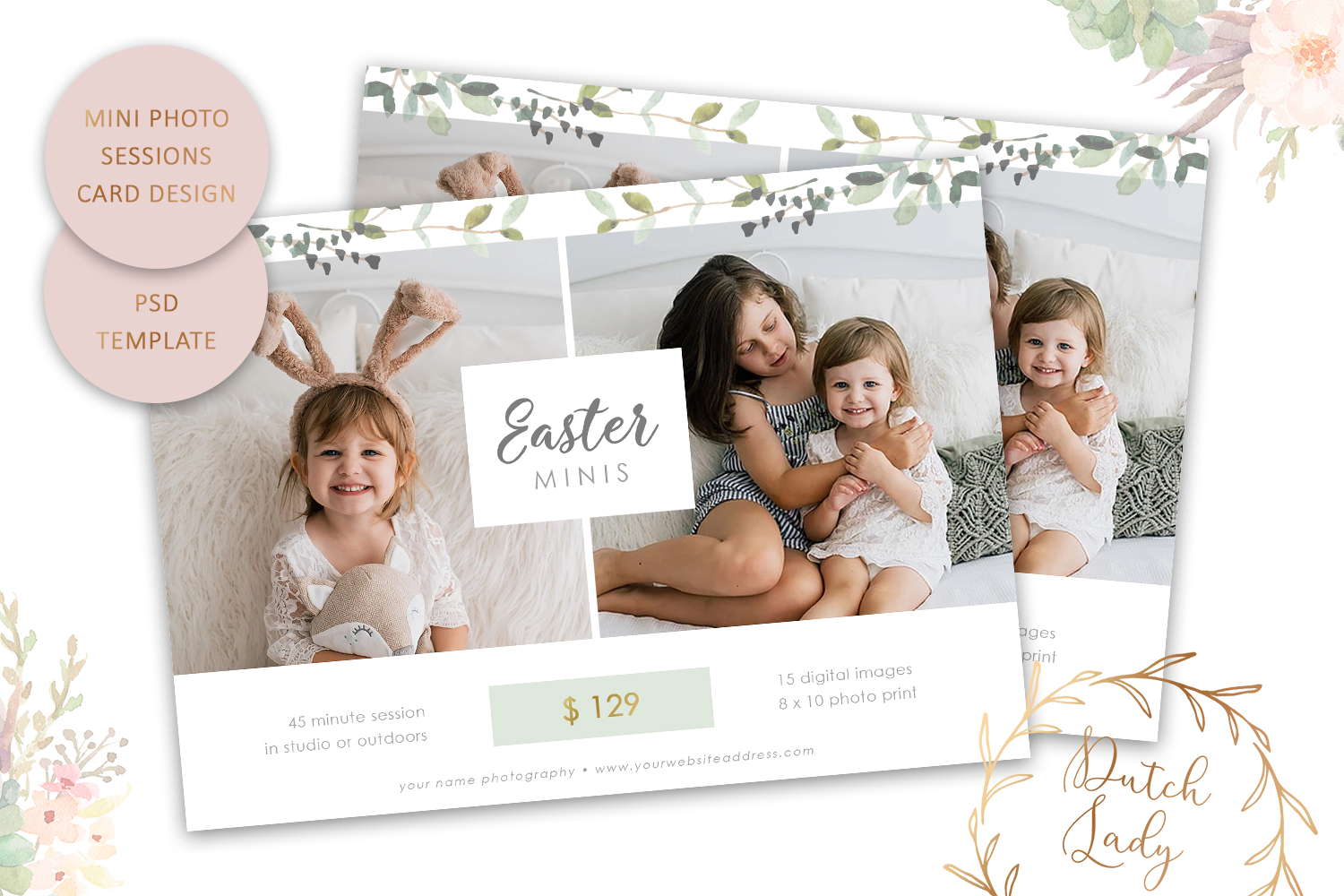 PSD Easter Photo Session Card Template - Design #50 example image 1
