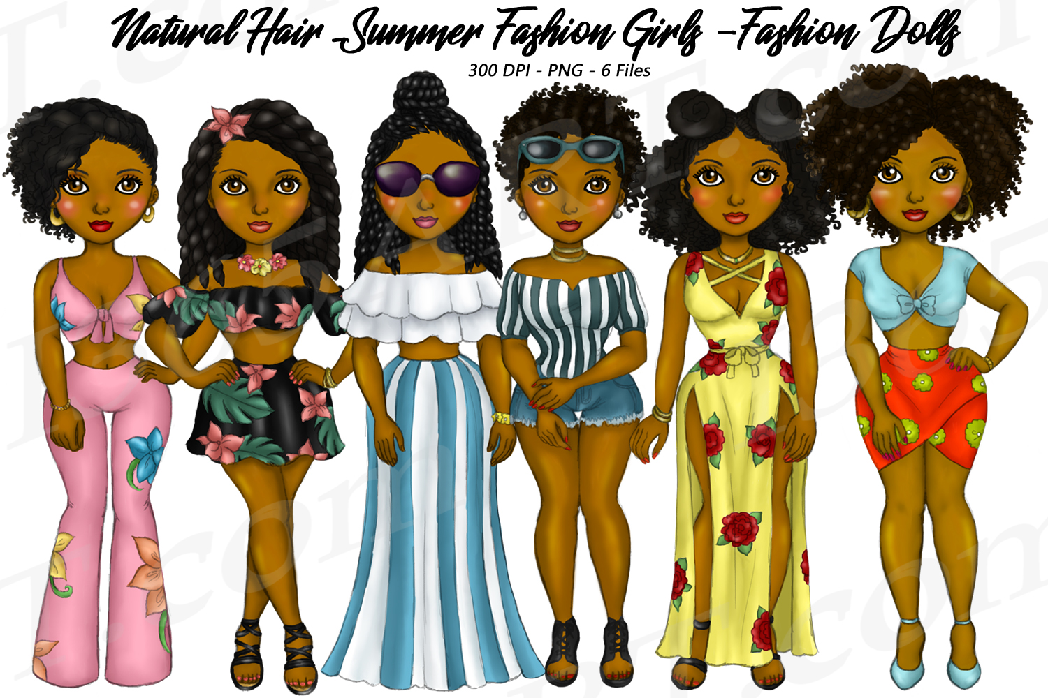 Summer Fashion Girls Planner Clipart, Natural Hair PNG example image 1