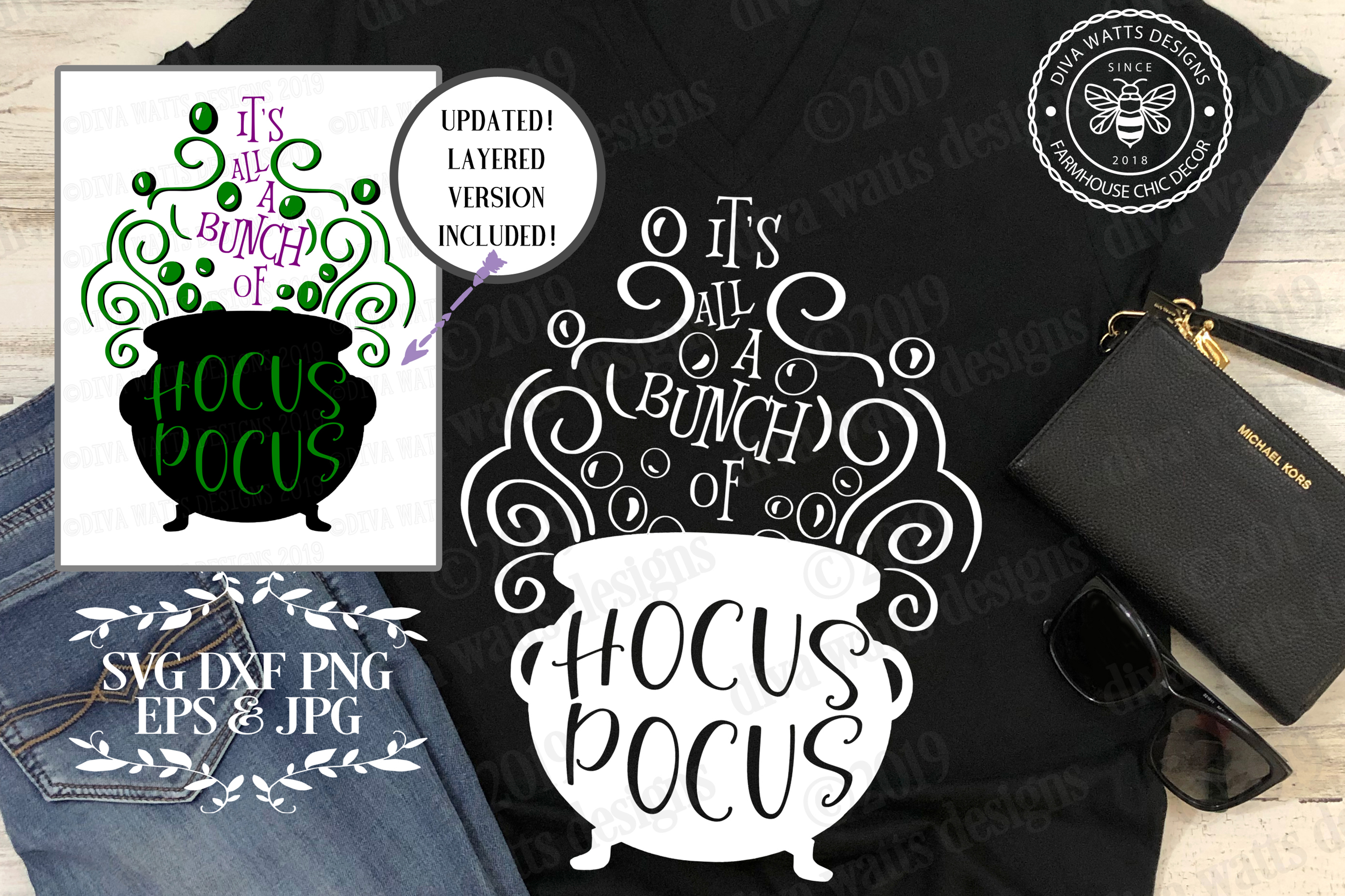 It's All A Bunch Of Hocus Pocus Halloween Cutting File example image 1