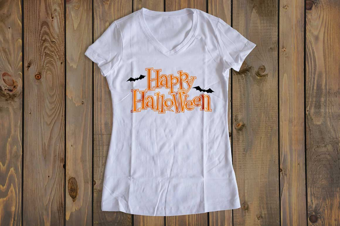 Happy Halloween w/Bats cut File - SVG DXF EPS AI PNG example image 2