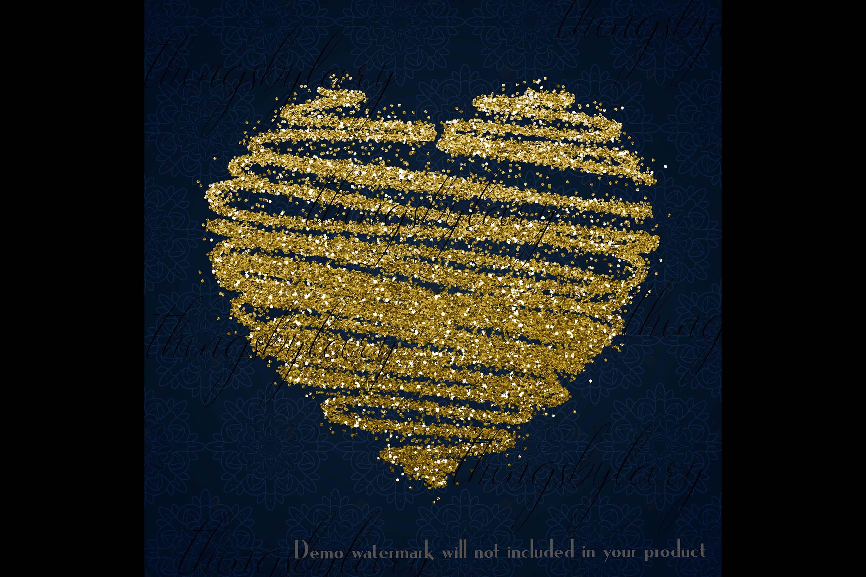 30 Gold Glitter Hand Drawn Heart Clip Arts Wedding Valentine example image 4