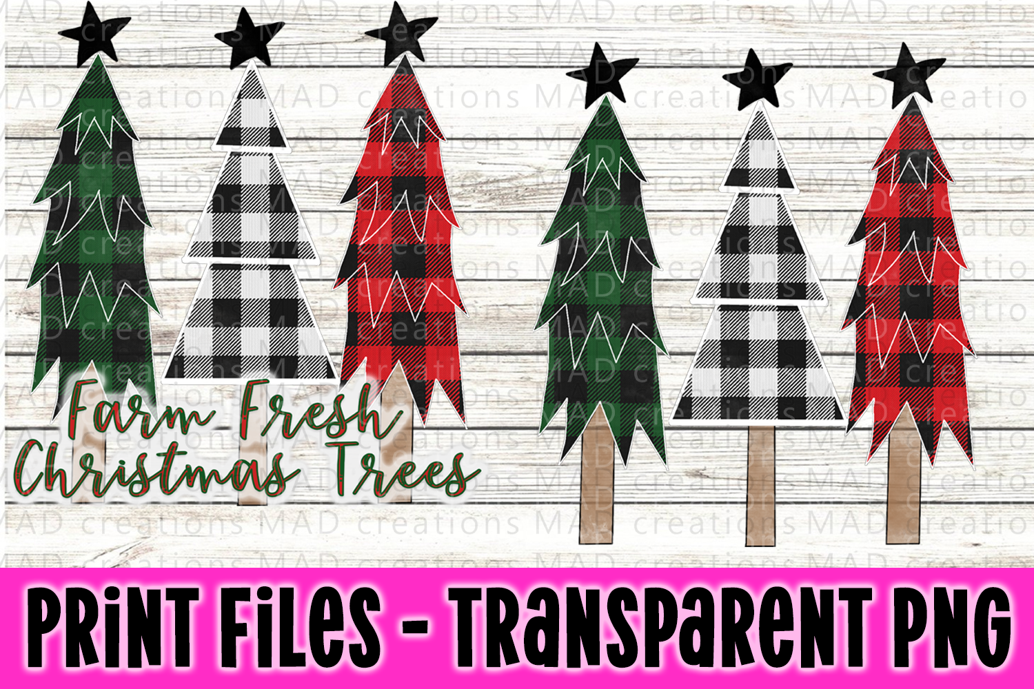 Buffalo Plaid Trees and Presents - Print File example image 1