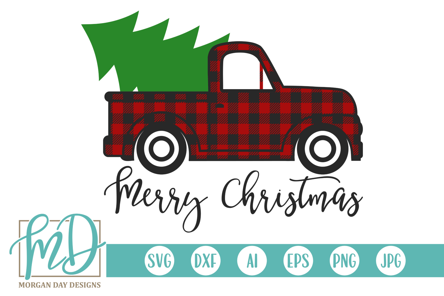 Merry Christmas - Buffalo Plaid Vintage Truck SVG example image 2