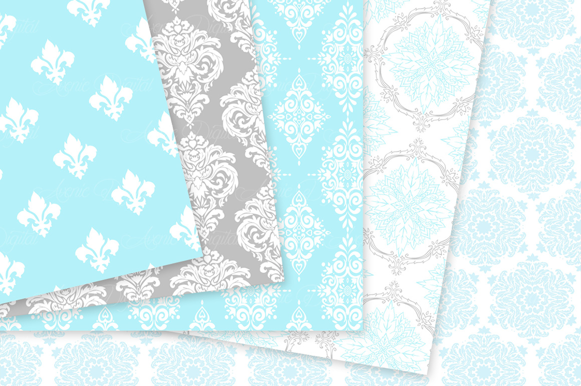 Blue and Grey Damask Patterns - Seamless Digital Papers example image 7