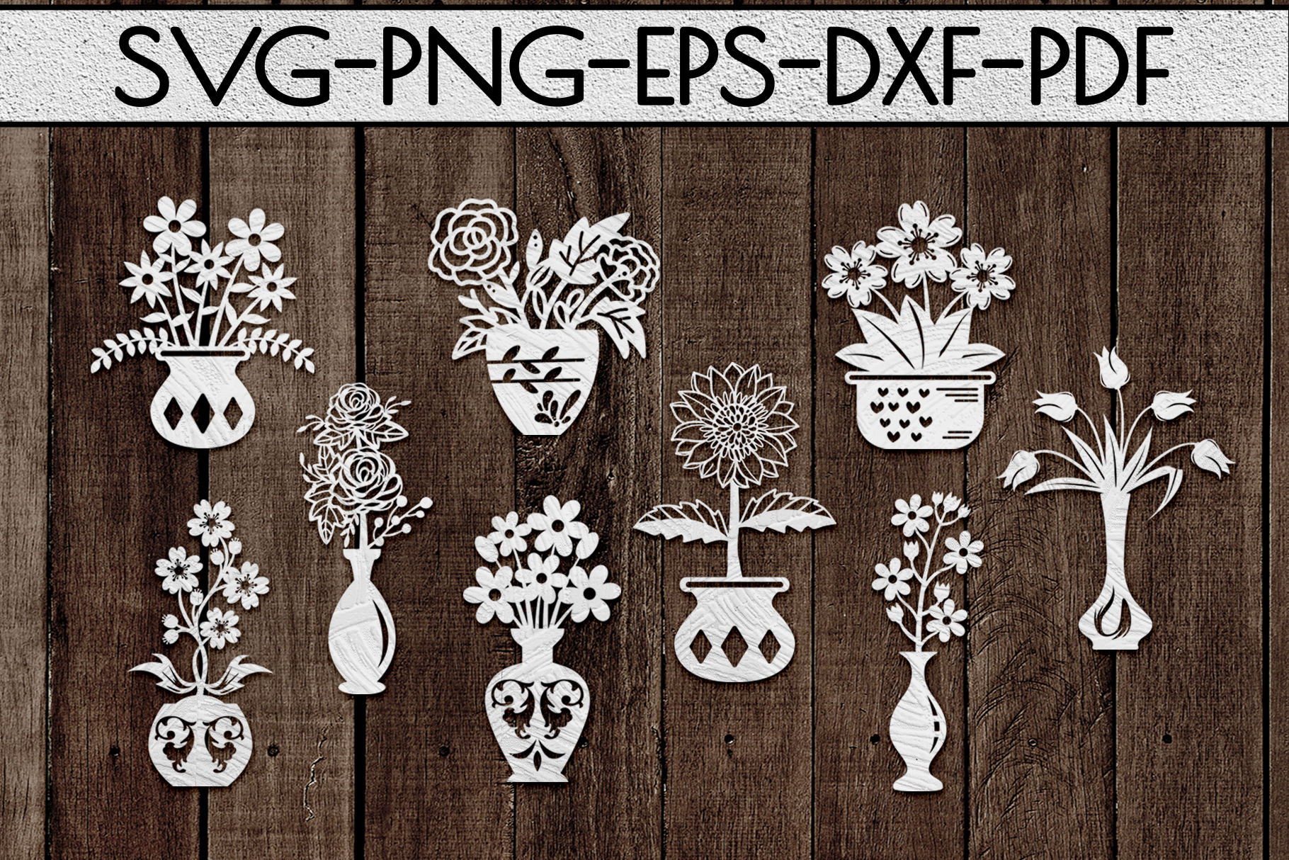 Flower In Vase Papercut Templates Bundle, Laser Vector SVG example image 2