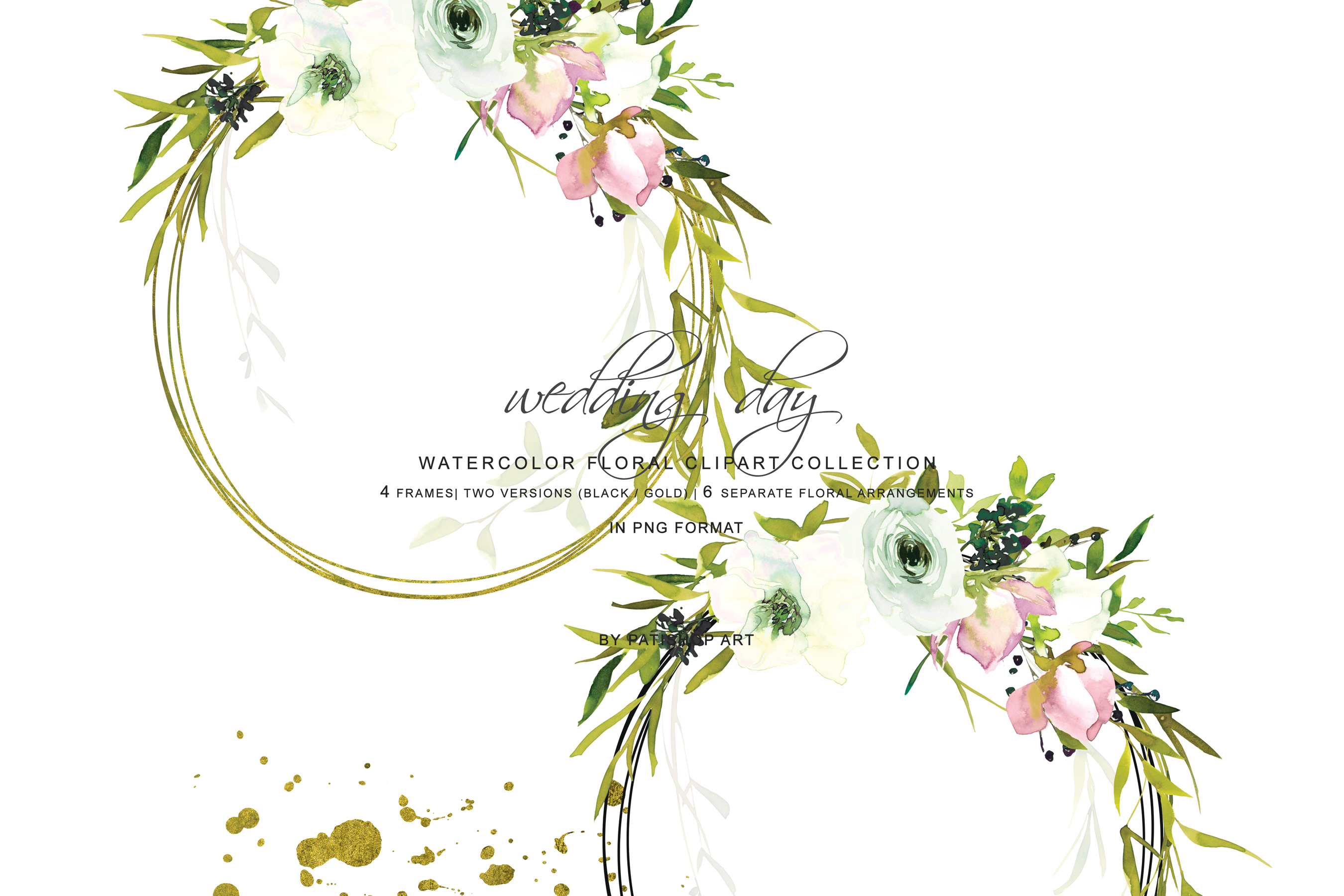 Hand Painted Watercolor Blush and White Rose Clipart example image 6