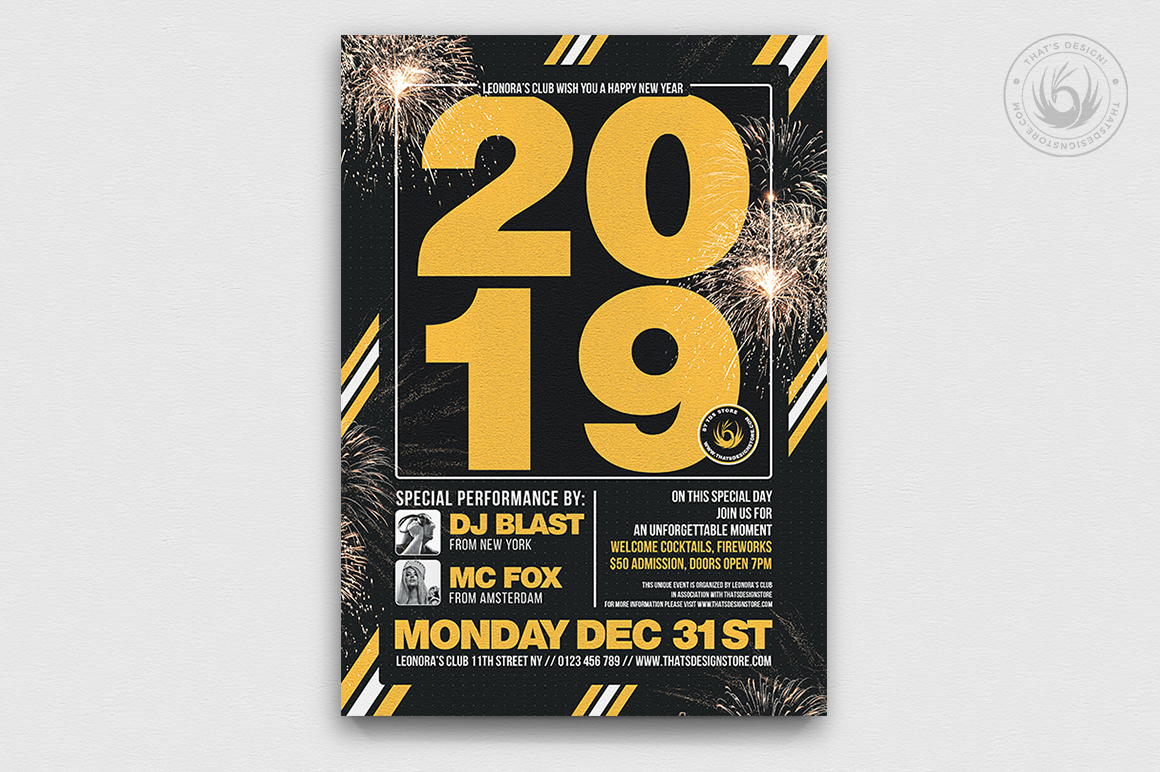 New Year Flyer Template V6 example image 1