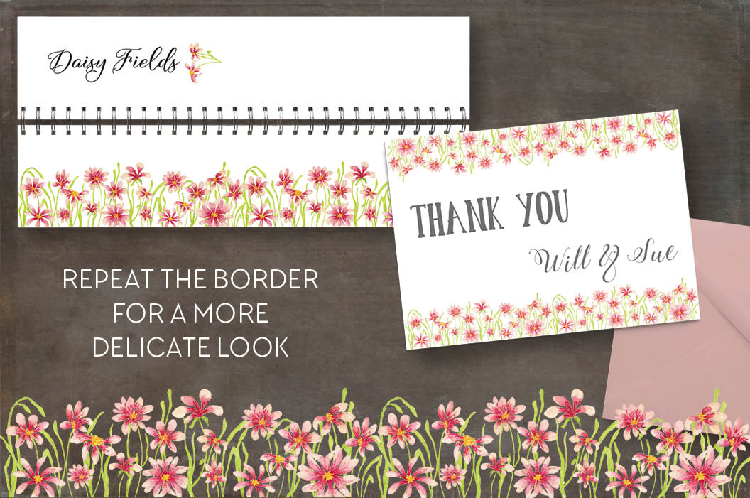 Watercolor borders of pink daisies example image 3