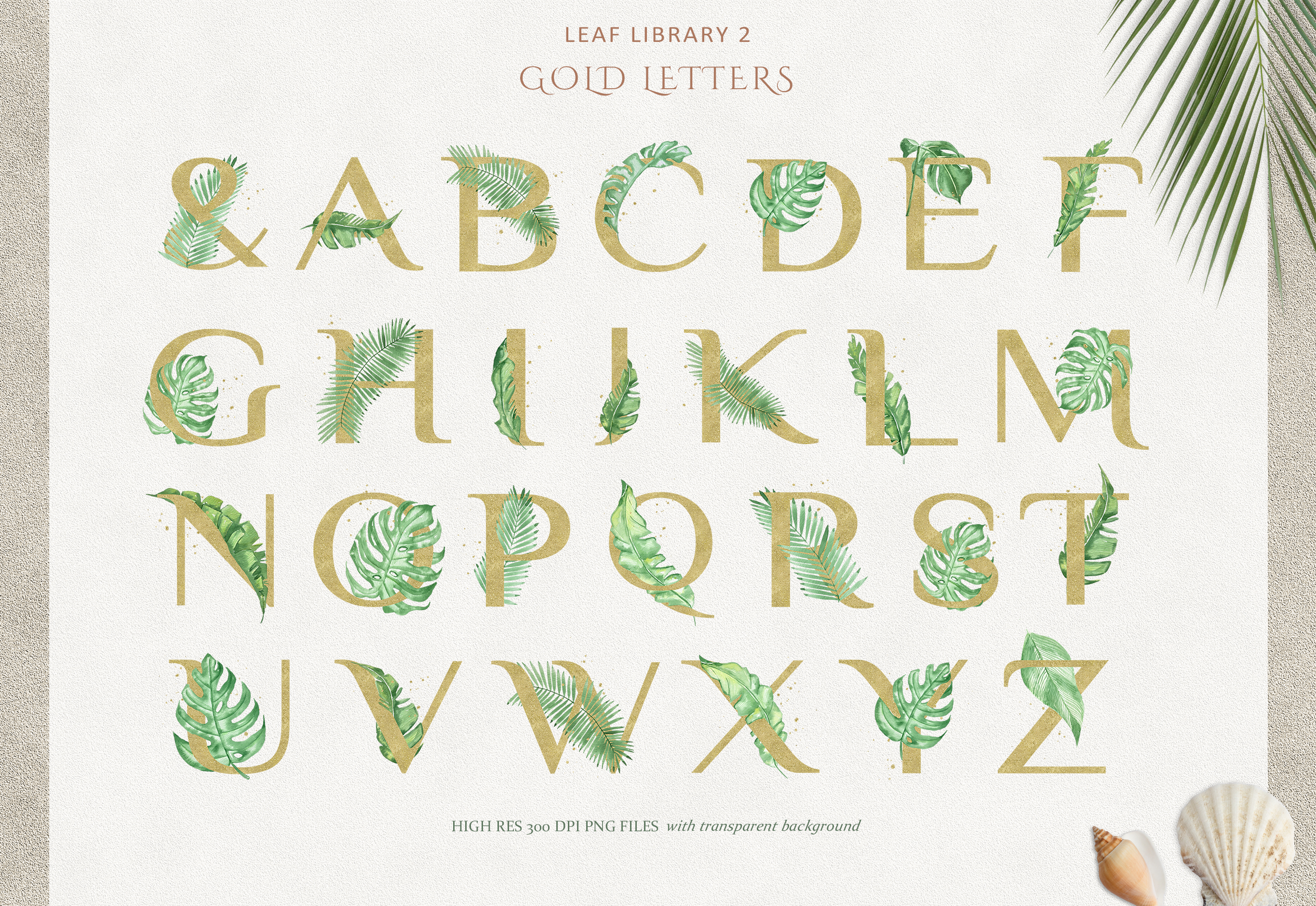Greenery and Gold Leaf Library II example image 7