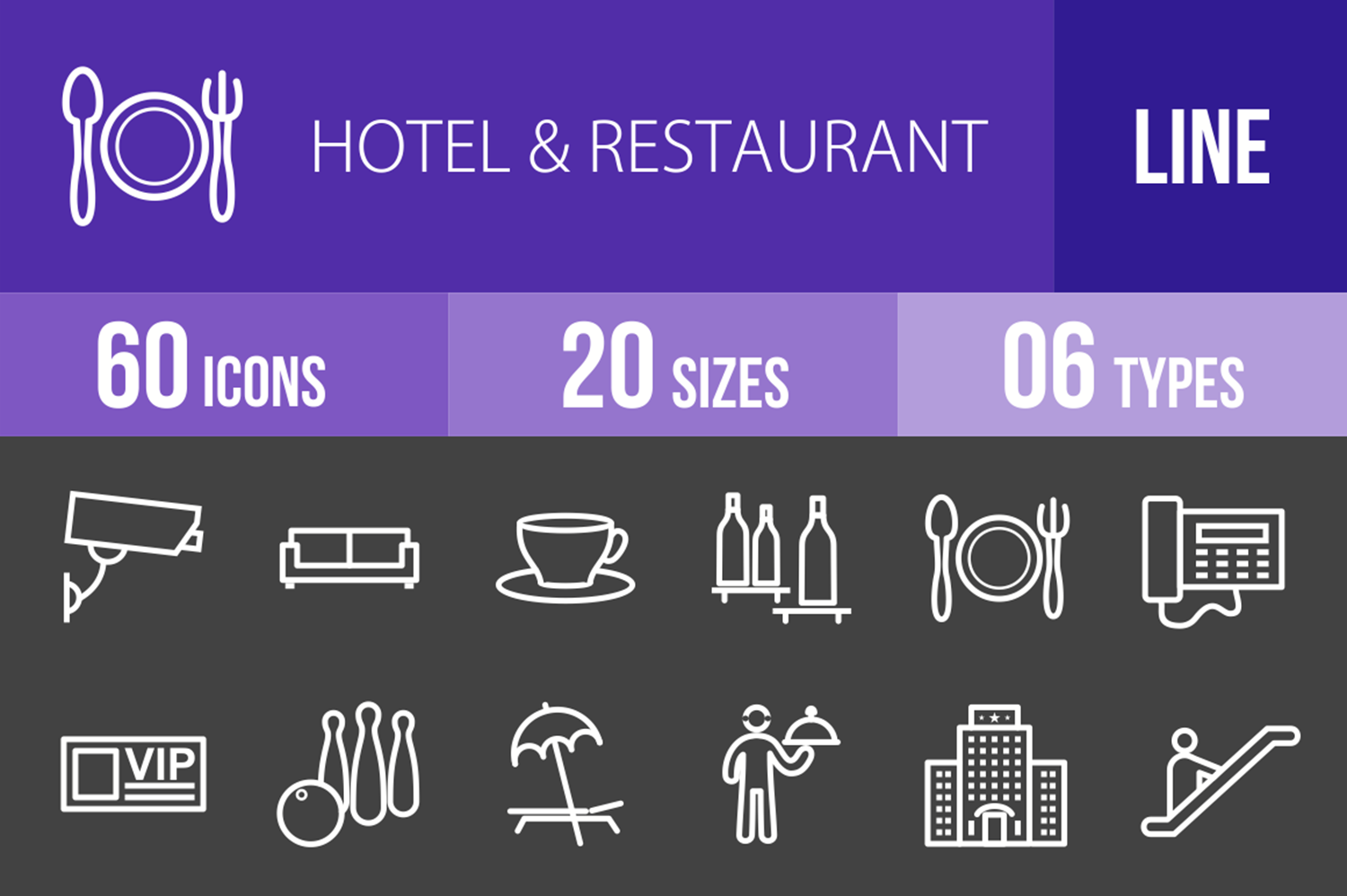 60 Hotel & Restaurant Line Inverted Icons example image 1