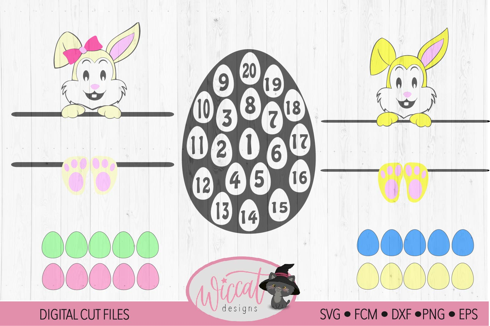 Easter bundle, easter calander, Easter bunny, Bunny face svg example image 5