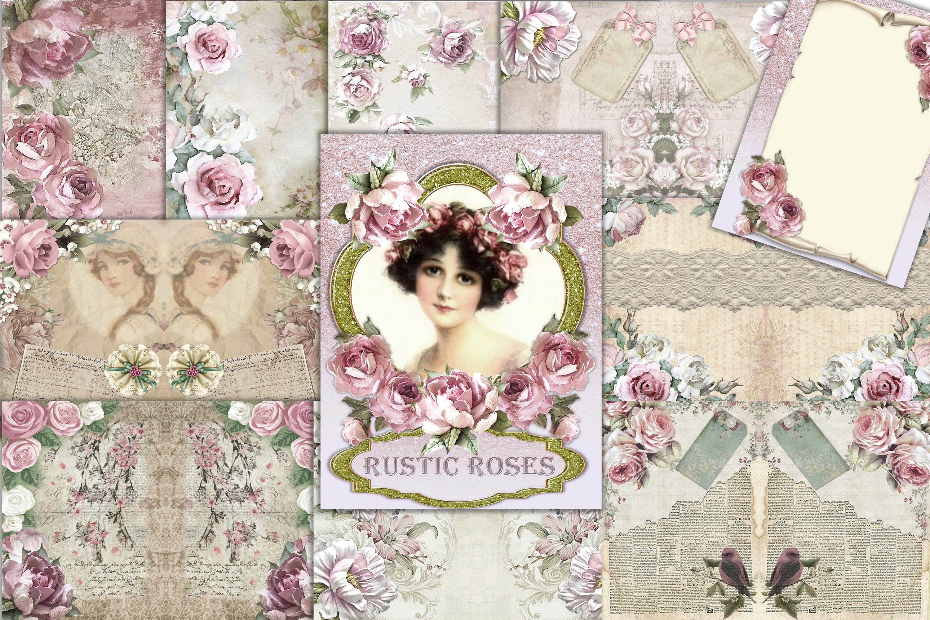 20 Journaling Background papers. Rustic Roses Commercial Use example image 1