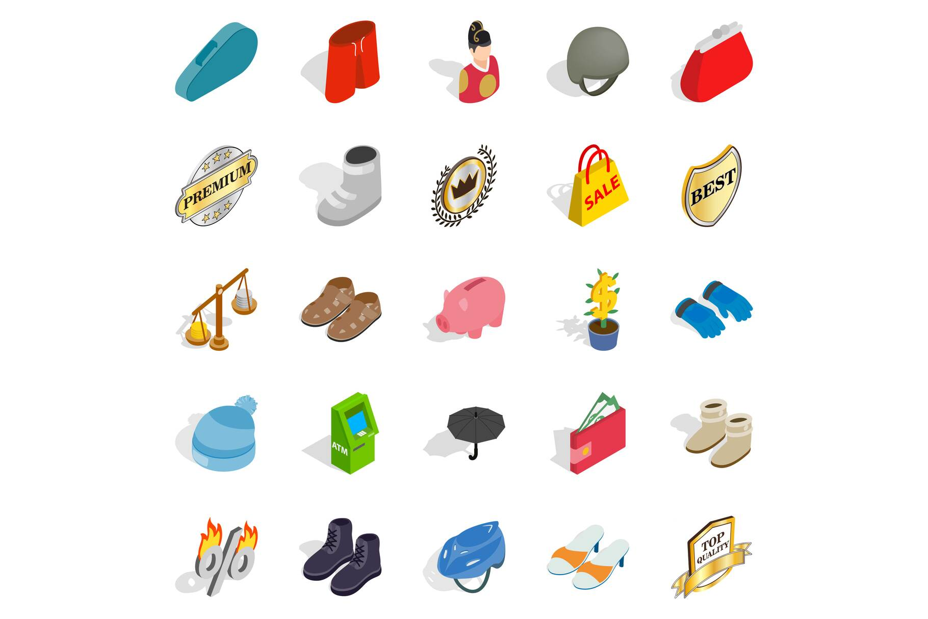 Luggage icons set, isometric style example image 1