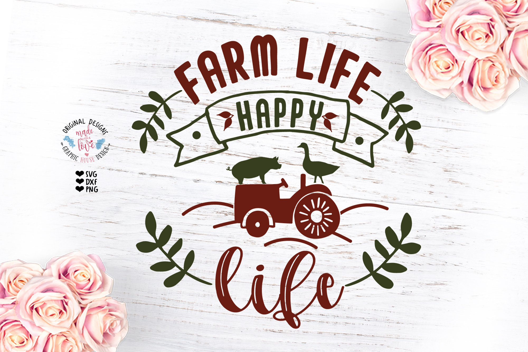 Farm Life Happy Life - Farm Cut File example image 1