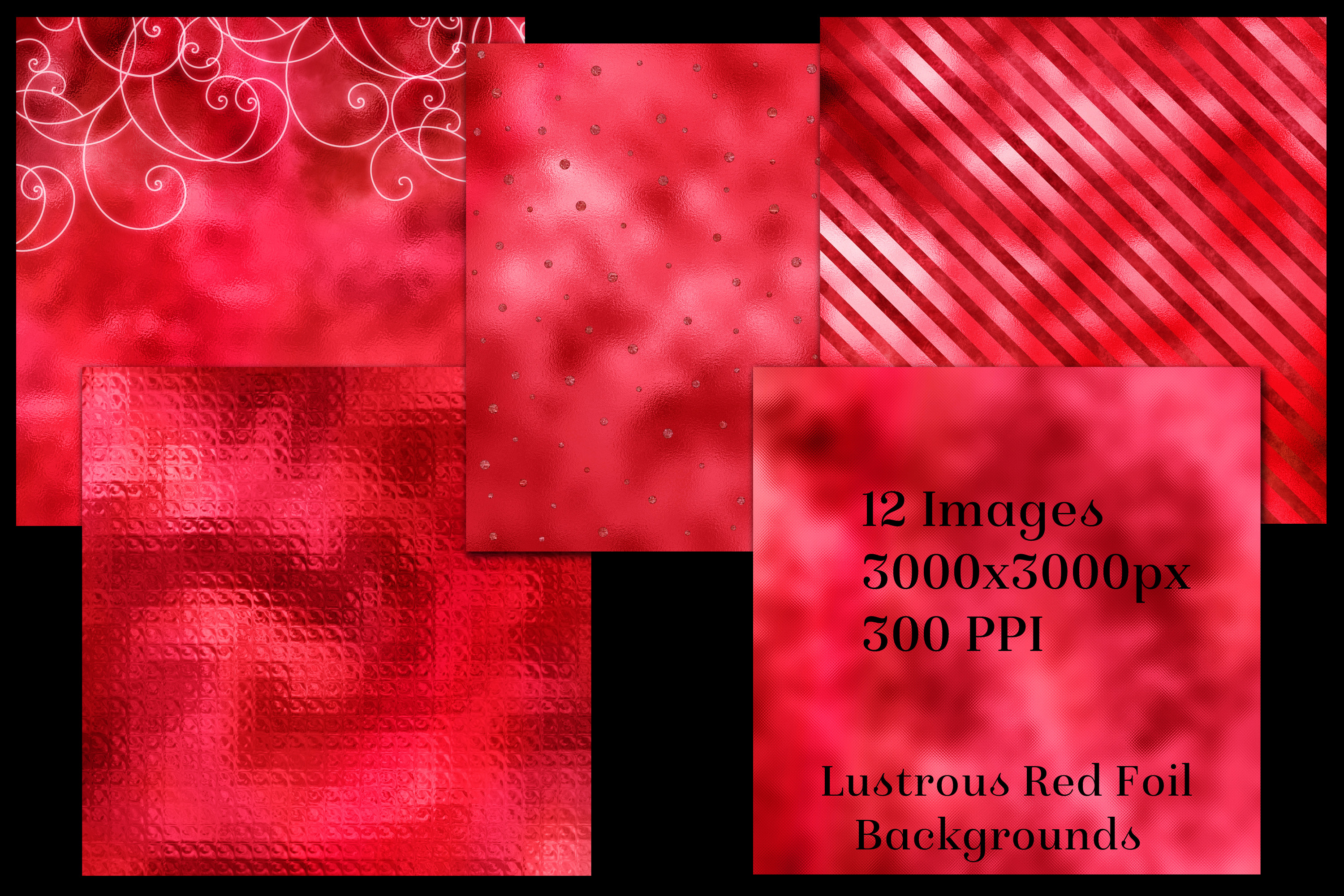Lustrous Red Foil Backgrounds - 12 Image Textures Set example image 2