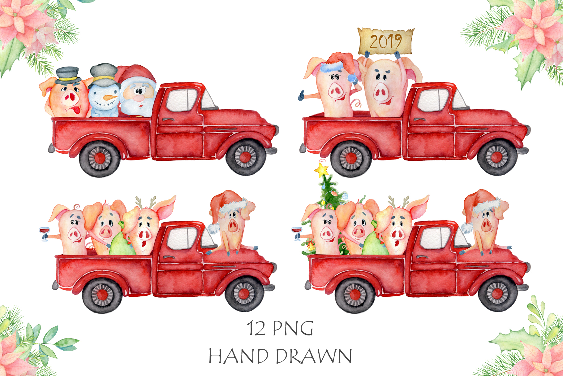 Christmas truck with xmas trees, sants and cute pigs example image 3