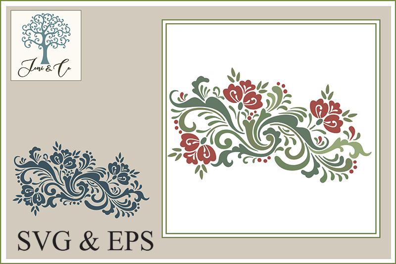 Scandinavian Folk Art Flowers, Rosemaling 3 example image 1