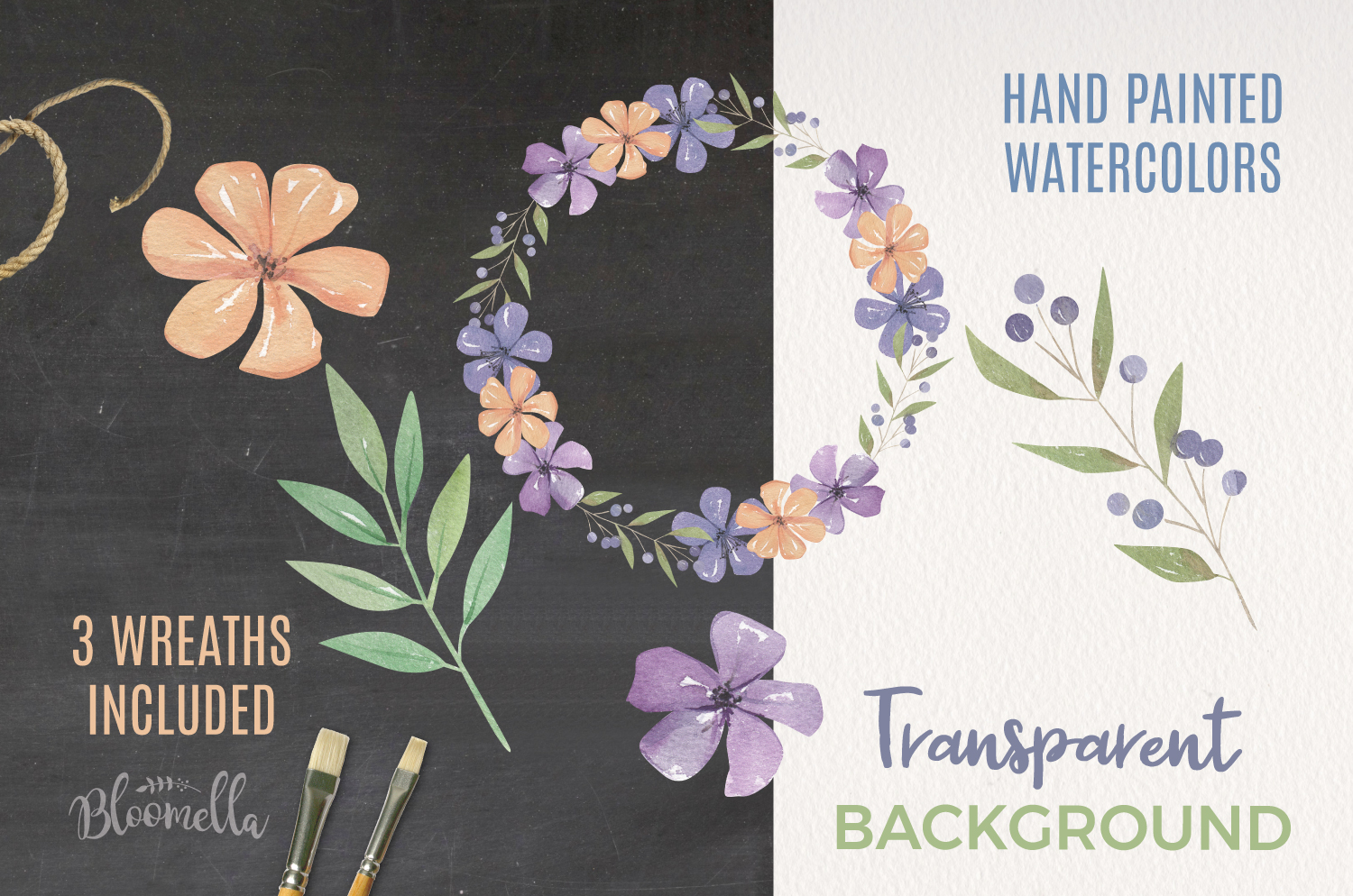 Valley Floral Watercolor Elements & Wreaths example image 2