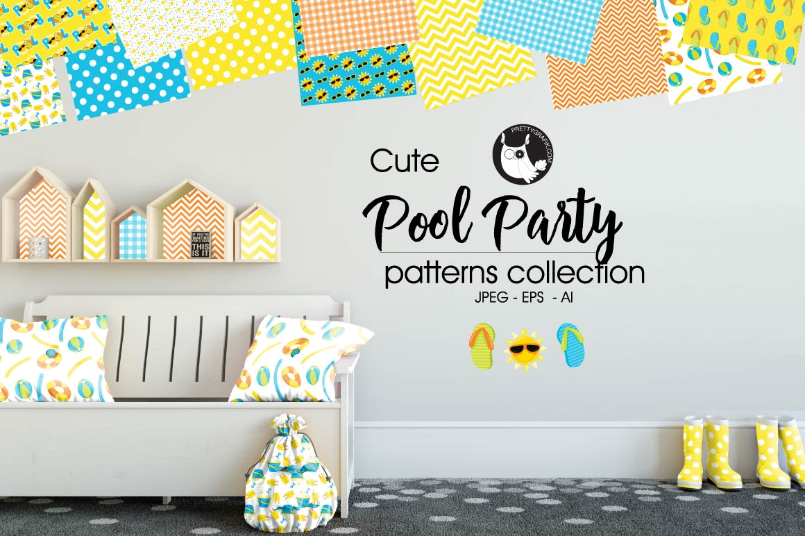 POOL-PARTY, digital papers example image 1