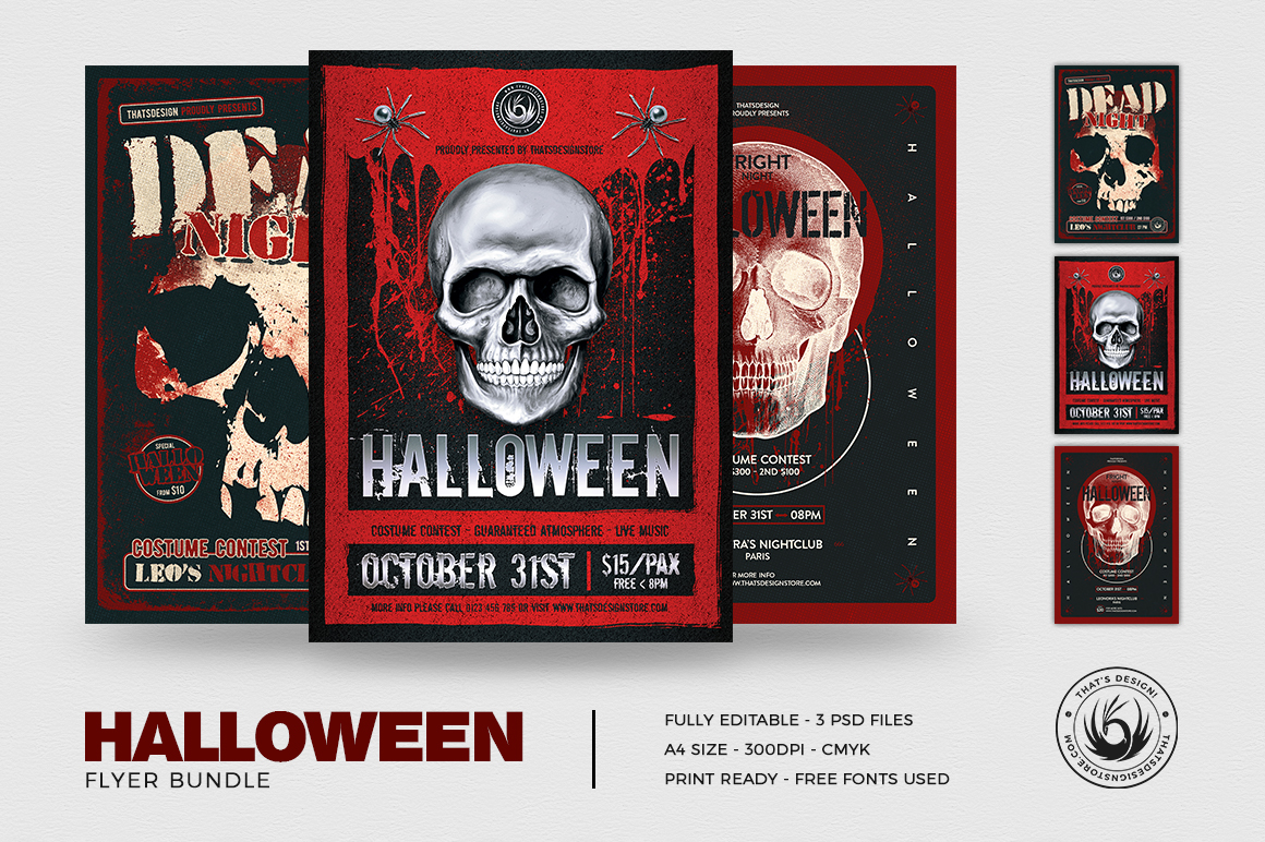 Halloween Flyer Bundle V8 example image 2