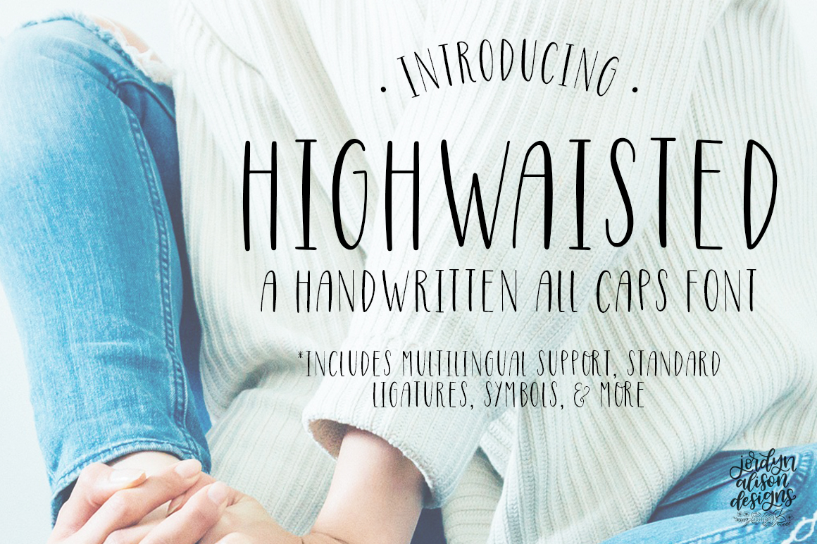 Highwaisted All Caps Skinny Font example image 1