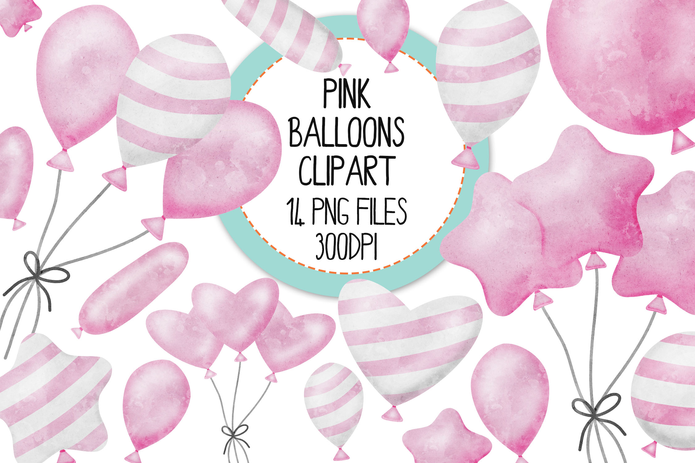 Pink Watercolor Balloon Clipart Set example image 1
