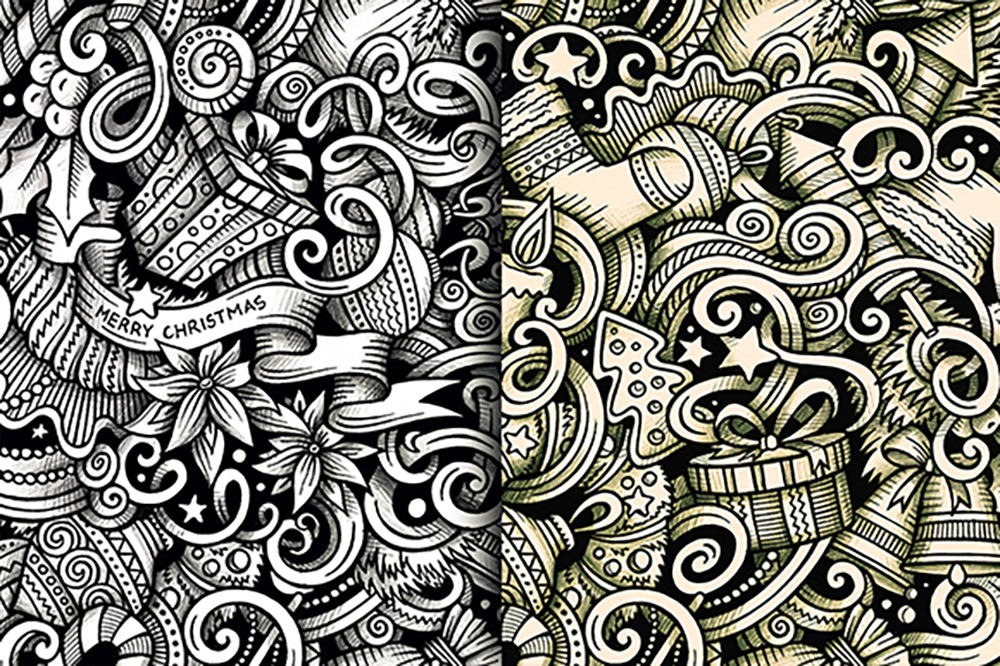 New Year Graphic Doodle Patterns example image 5