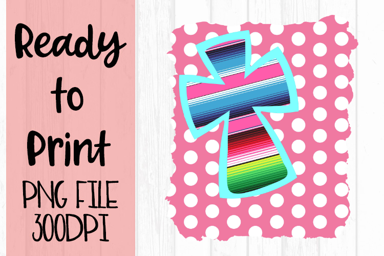 Serape Cross on Pink Dots Ready to Print example image 1