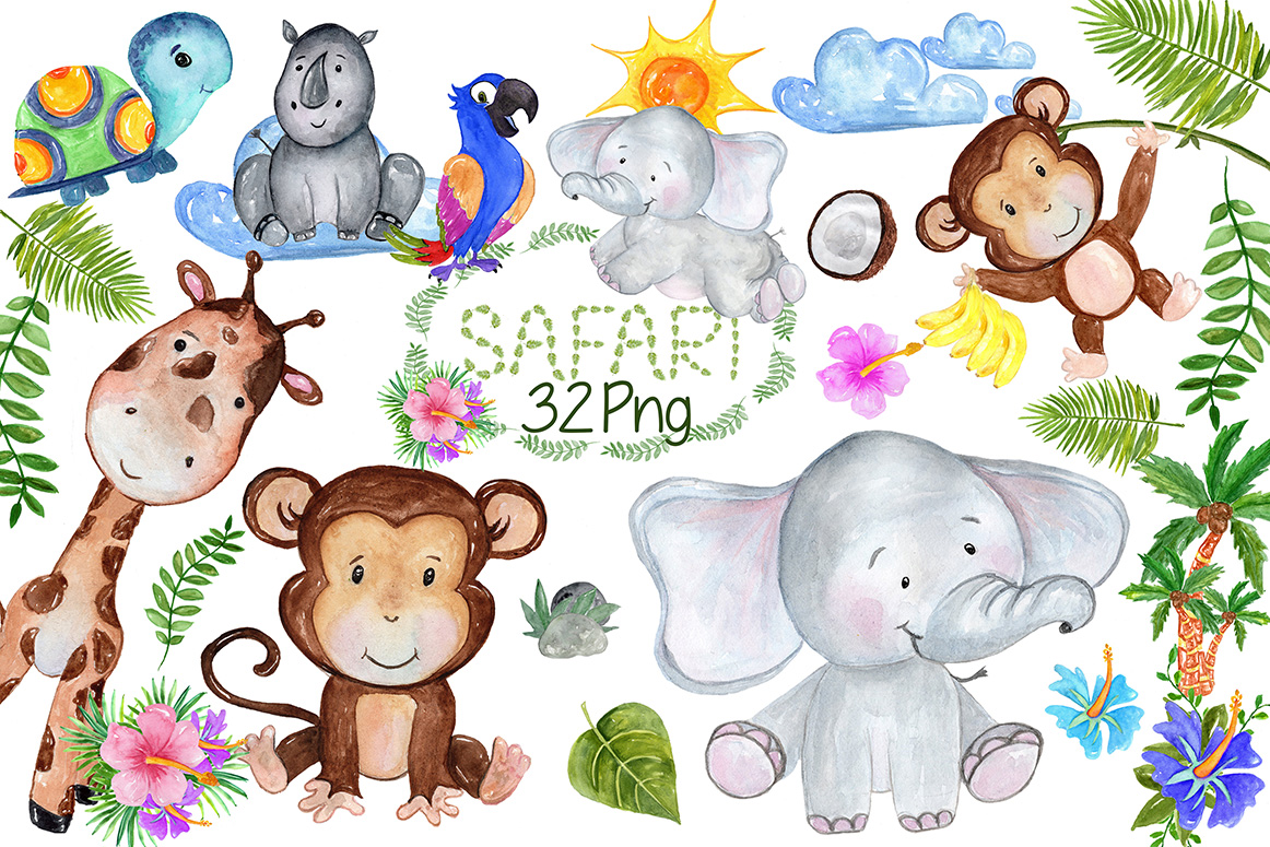 Safari Animals Clipart example image 1