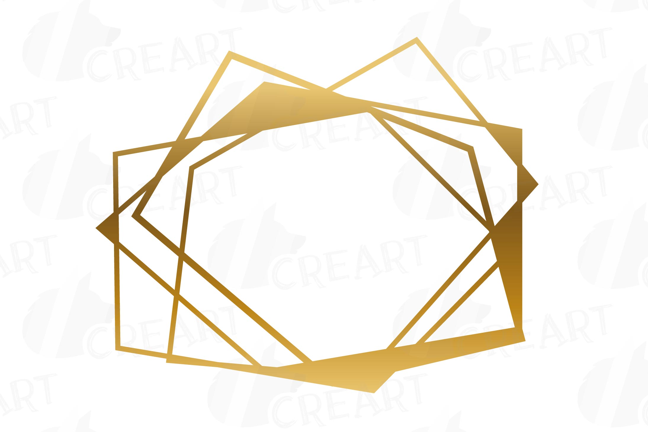 Chaotic geometric golden frames, lineal frames clip art example image 12