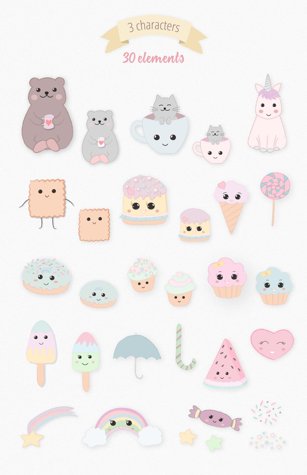 Sweet Kawaii Cute Cake Illustration Clipart Set example image 7