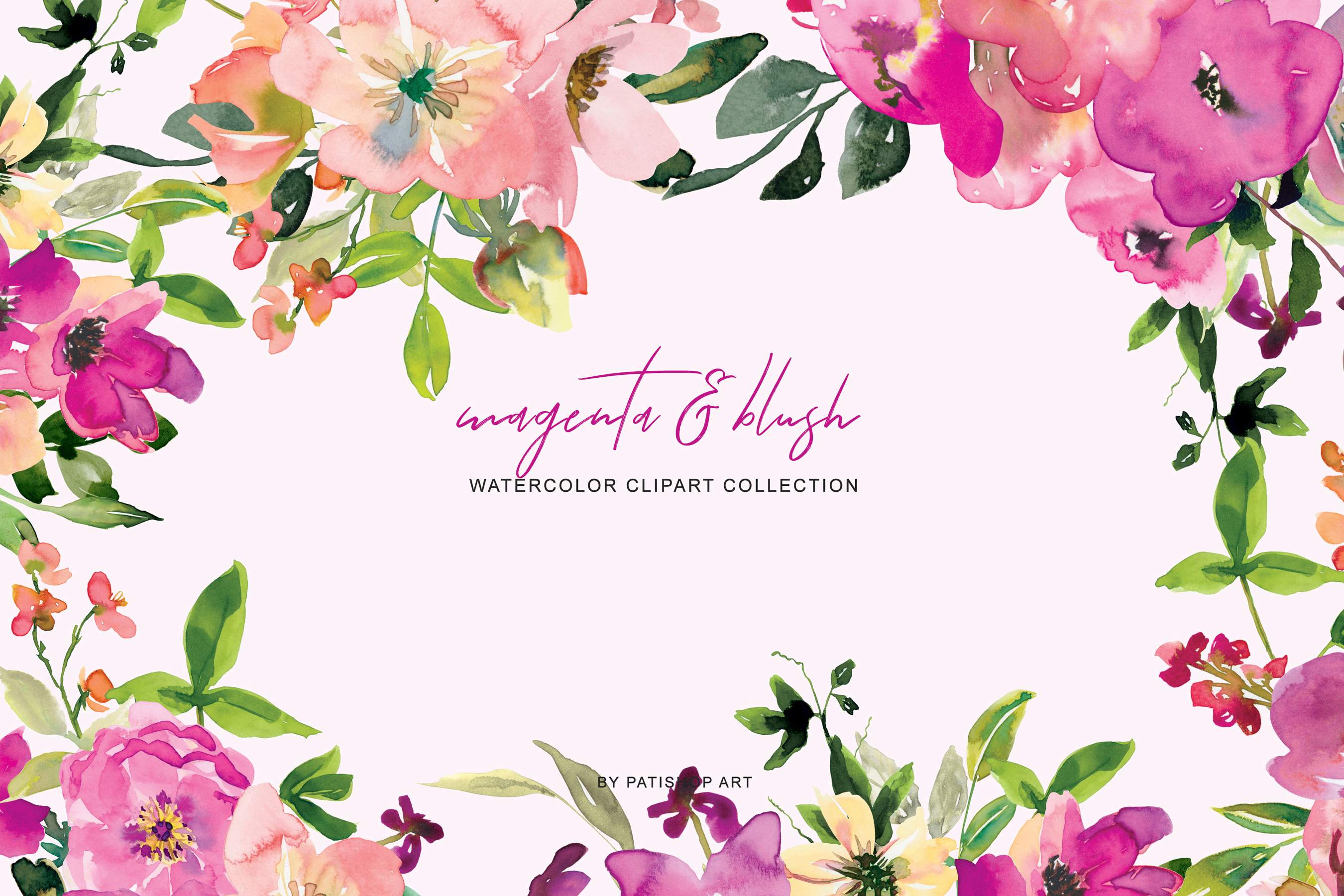Watercolor Magenta and Blush Floral Bouquet Clipart example image 3