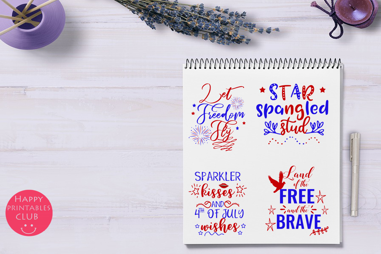 4th of July Text Clipart Overlays- July 4th Word Art Clipart example image 3