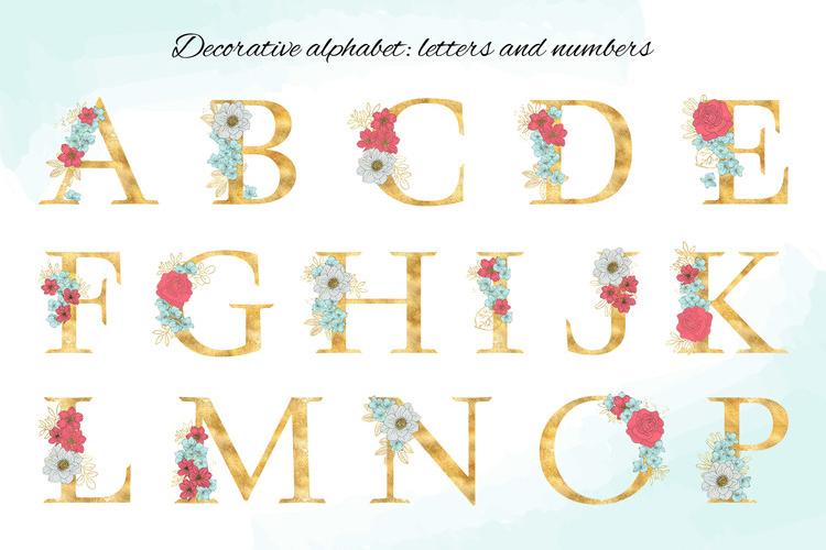 BLOOM Gold Floral Decorative Alphabet Number Set example image 4