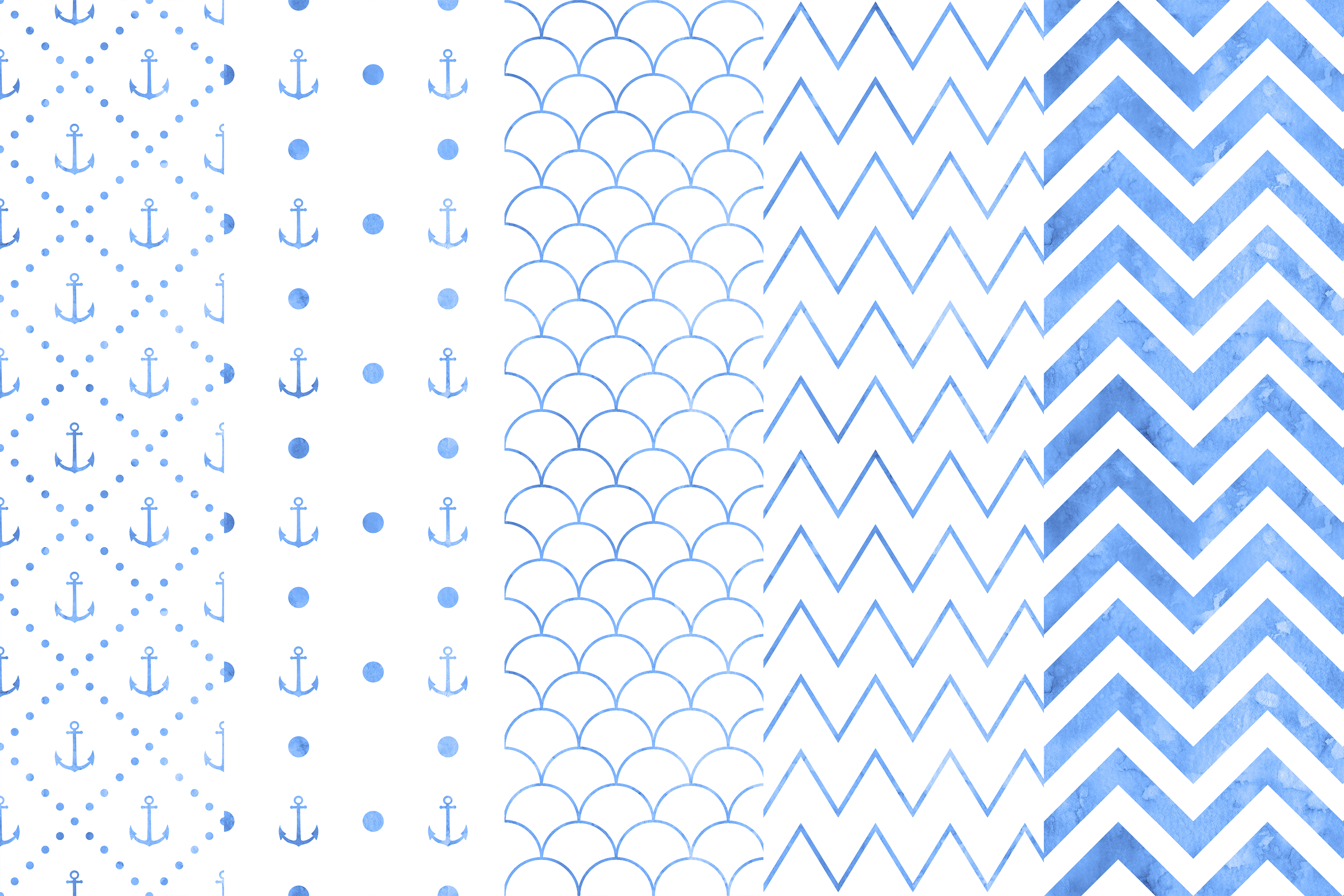Blue Watercolor Nautical Seamless Patterns, Watercolor example image 3