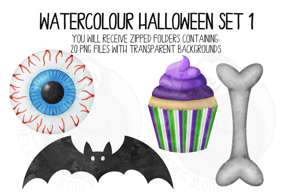 Watercolor Halloween Clip Art Set 1 example image 4
