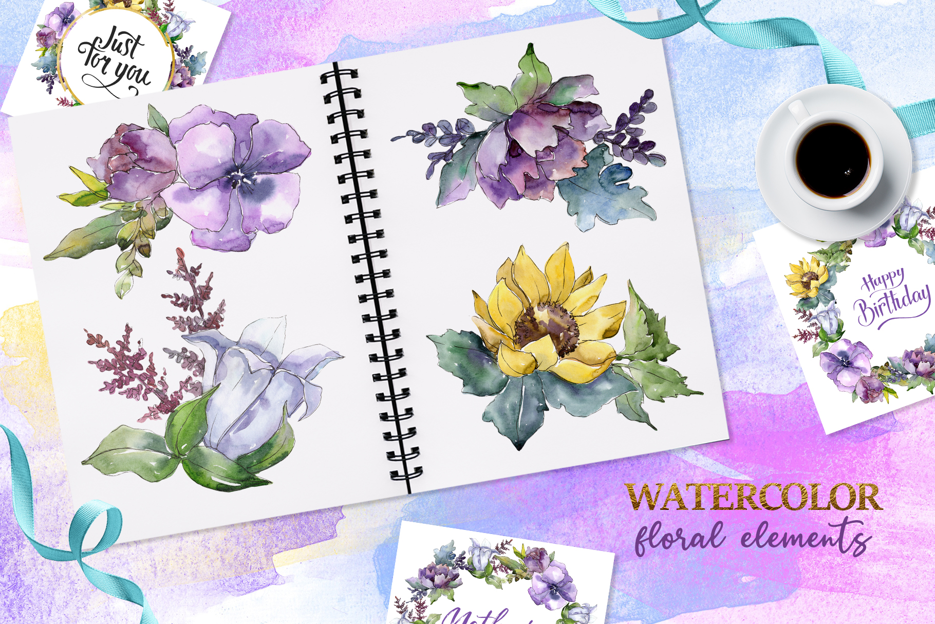 Bouquets peony, flax Watercolor png example image 2