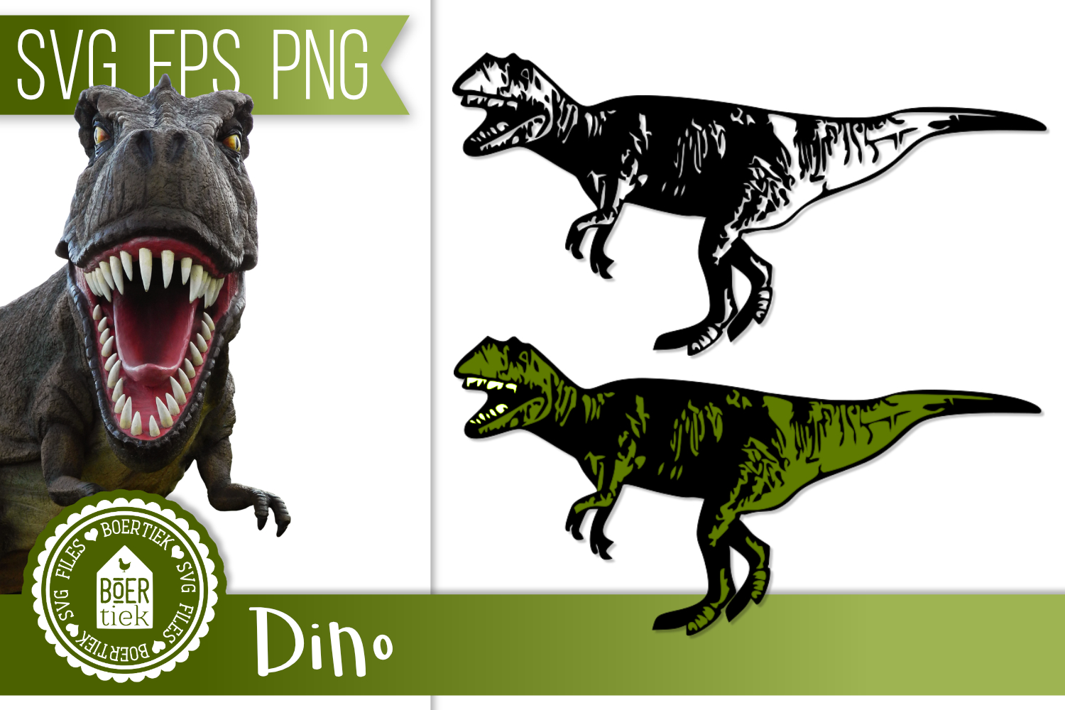 Dino, black and colored, SVG file, dinosaur example image 1