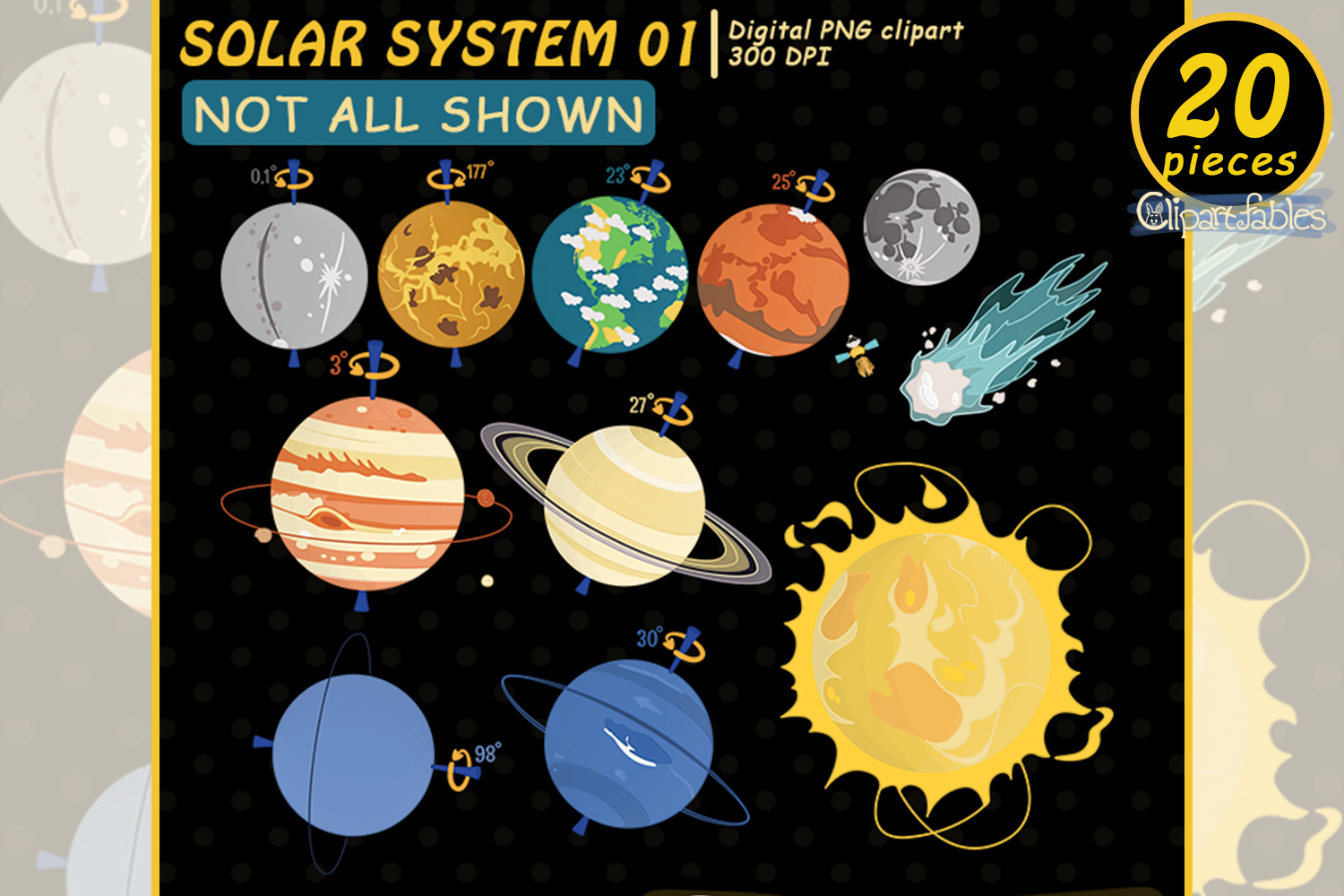 Solar system clipart, Planet clip art, Cute Space design example image 2