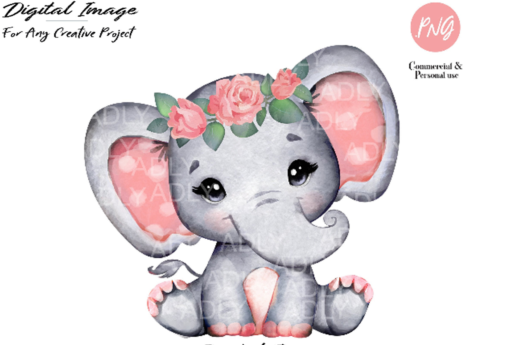 Watercolor Elephant Coral Clipart Floral Elephant With Rose