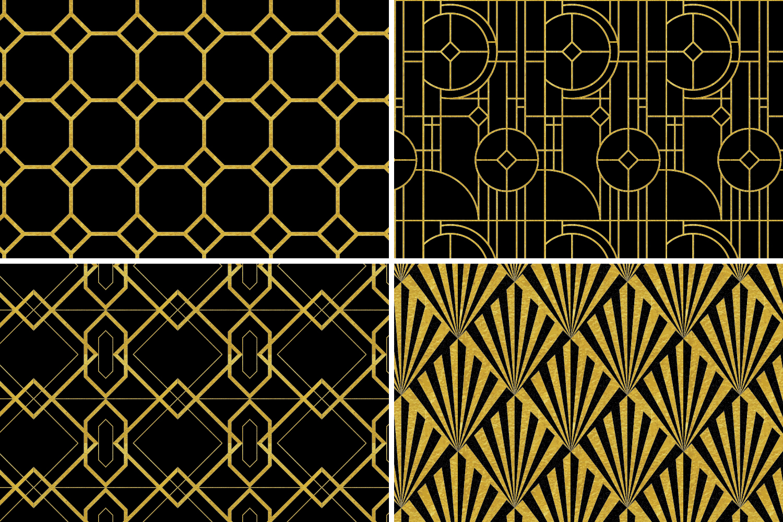 8 Seamless Art Deco Patterns - Black & Gold Set 2 example image 6