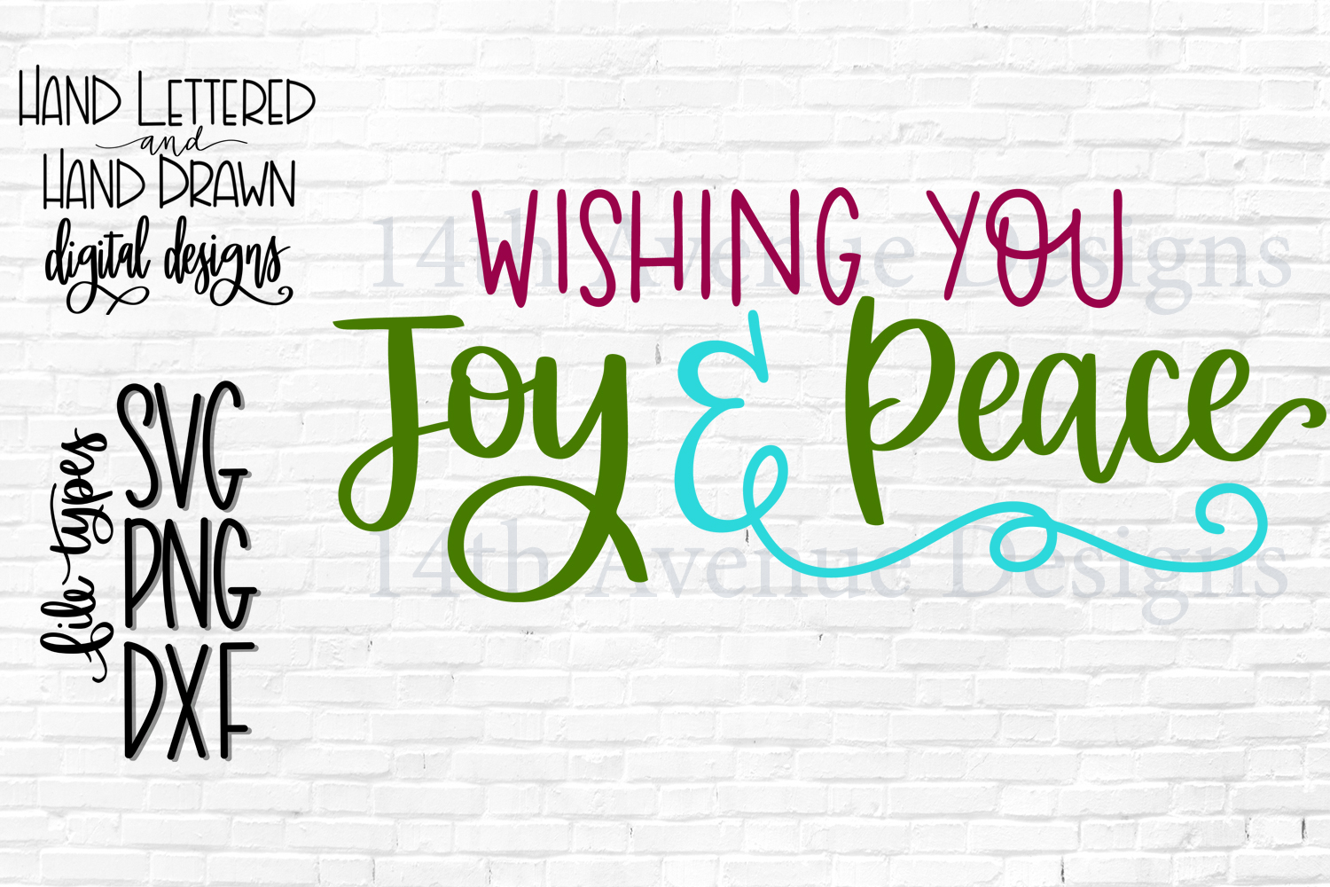 Wishing You Joy and Peace SVG, Christmas PNG, Hand Lettered example image 1