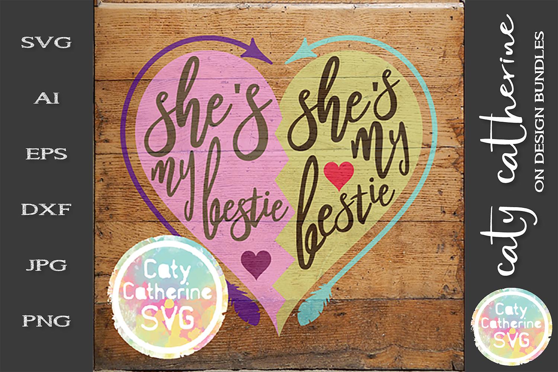 She's My Bestie Love Heart Arrow Best Friend T-Shirt SVG example image 2